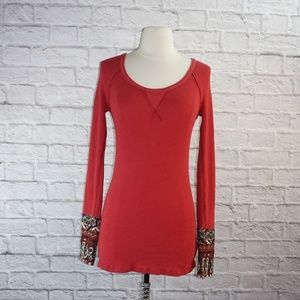 We the Free Red Hyperactive Cuff Thermal Top